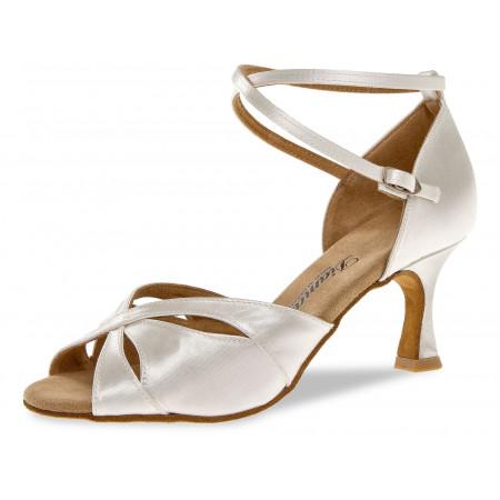 141 Diamant - Chaussures de danses latines en satin blanc à talons évasé de 5cm