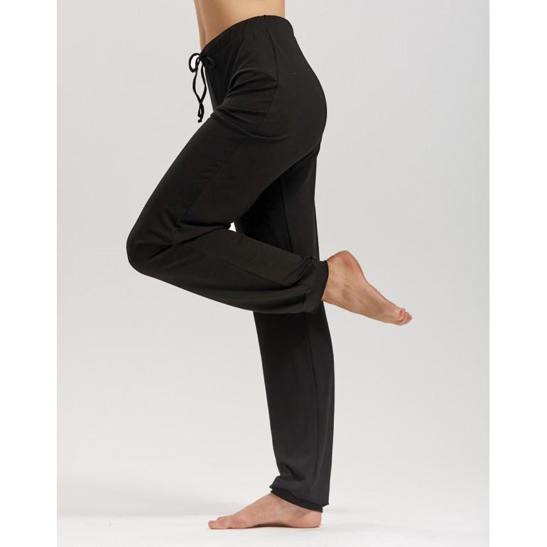 Pantalon uni-sexe de danse pour enfant ample avec bas resserré en viscose noire  - AffettoJR - TempsDanse