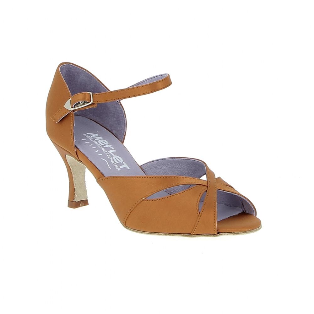 Saphir - Chaussures de danse en satin tan - Merlet