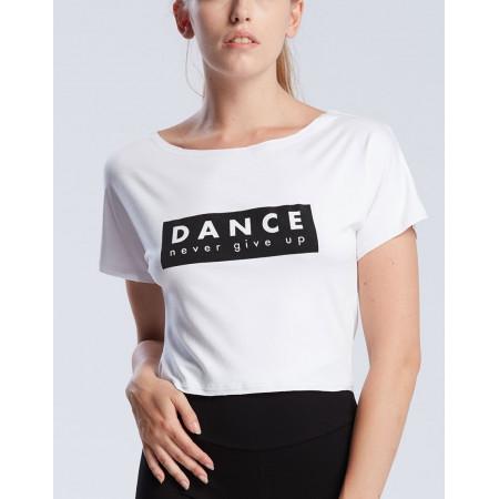 """T-shirt pour de danseen viscose blanche à logo """" DANCE NEVER GIVE UP """" - AgileJrNever - TempsDanse"""