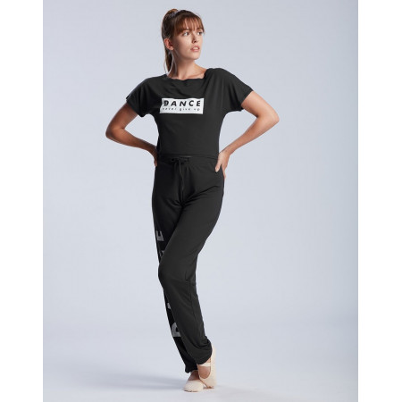 "T-shirt court de danse logo ""DANCE NEVER GIVE UP"" en viscose noire - Agile Never - TempsDanse"