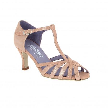 Sabine - Chaussures de danses latines en cuir rose pailleté de la marque Merlet