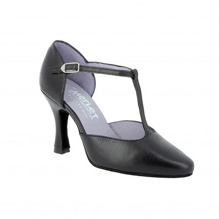 Lara - Chaussures de danse fermées en cuir noir et bride salomé - Merlet