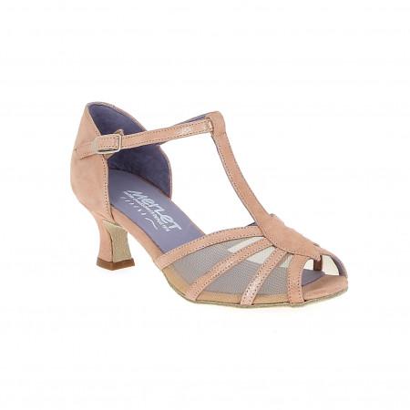 Karmina - Chaussures de danse en cuir pailleté rose et bride salomé - Merlet
