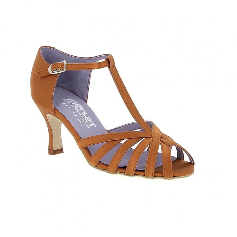 Sabine - Chaussures de danse ouverte en satin tan - Merlet