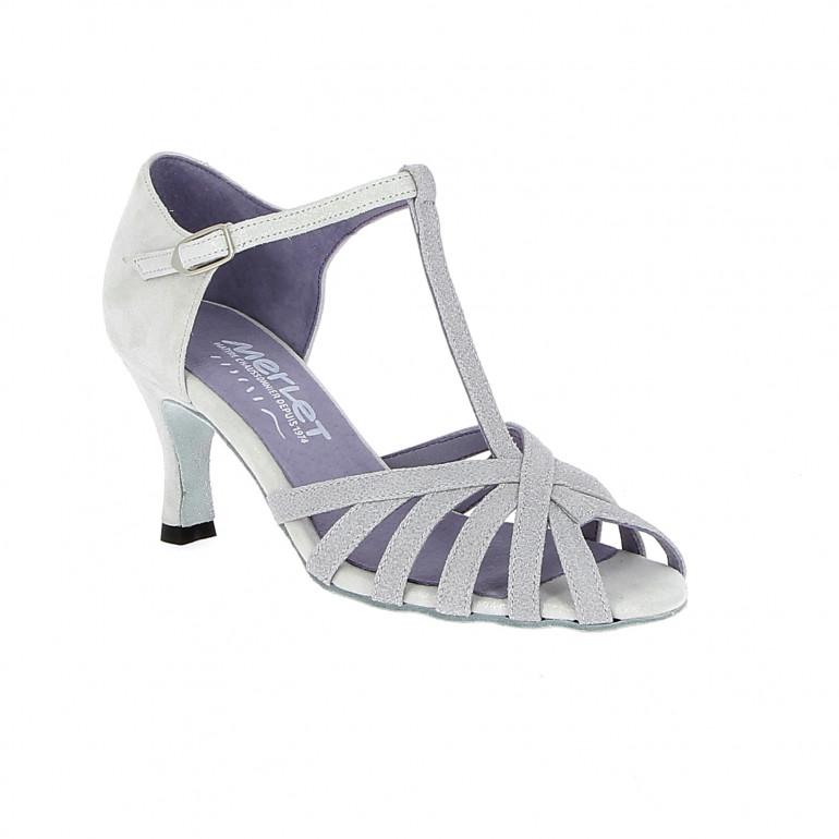 Sabine - Chaussures de danse en nubuck blanc pailleté - Merlet