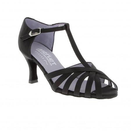Sabine - Chaussures de danses latines en satin noir de la marque Merlet