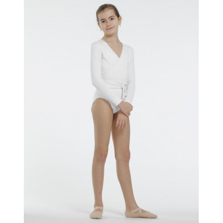 Vigueur Jr - Haut de danse type cache-coeur en viscose blanche pour enfant - TempsDanse