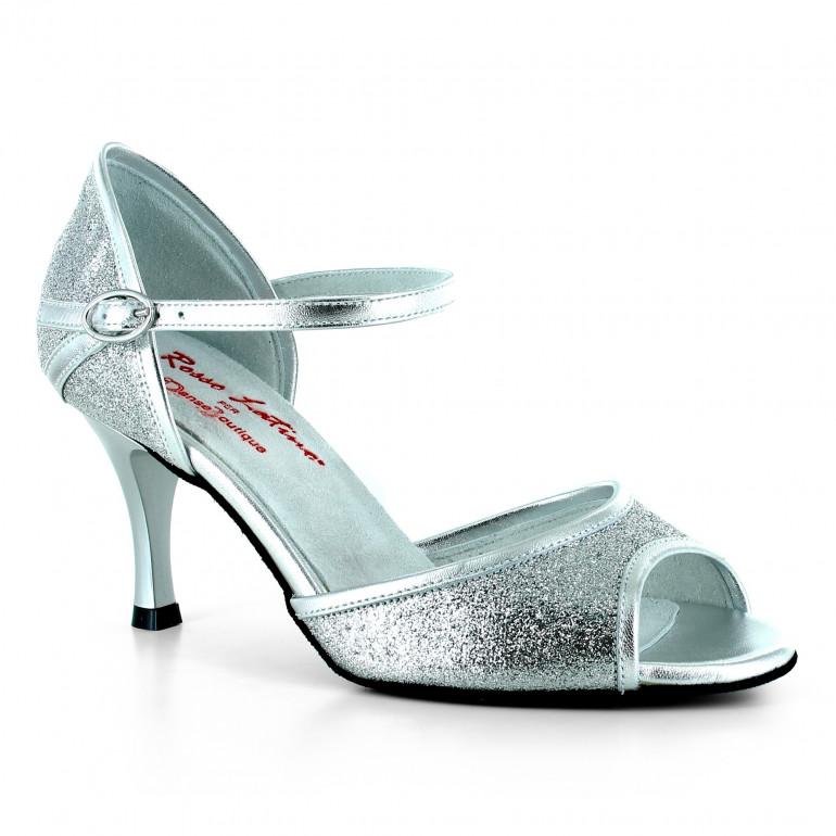 DB3 - Chaussures de danse pailletées argentées - Rosso Latino