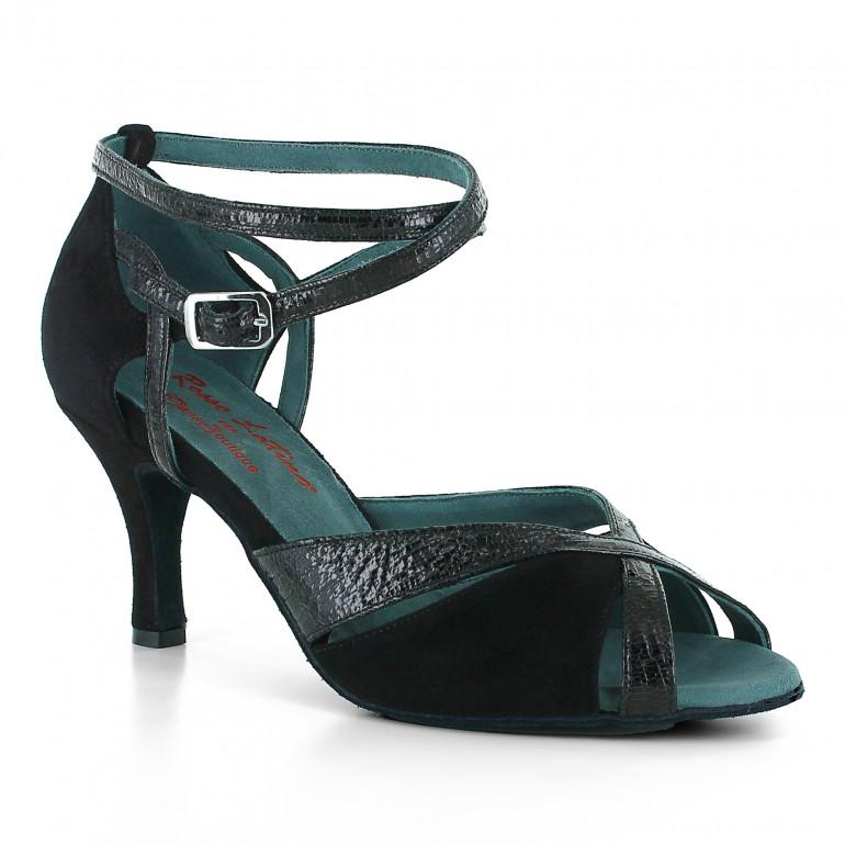 Chaussures de danse en cuir nubuck et brillant noir à talons 7cm - Rosso latino