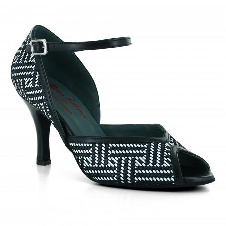Chaussures de danse en cuir noir et blanc à talons 8cm - Rosso latino