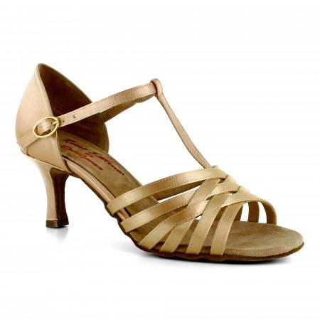 Chaussures de danses latines en satin flesh à talons 6cm - Rosso latino