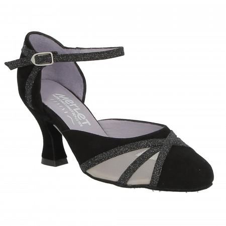 Chaussure de danse de salon en velour noir avec résille - Merlet Charma