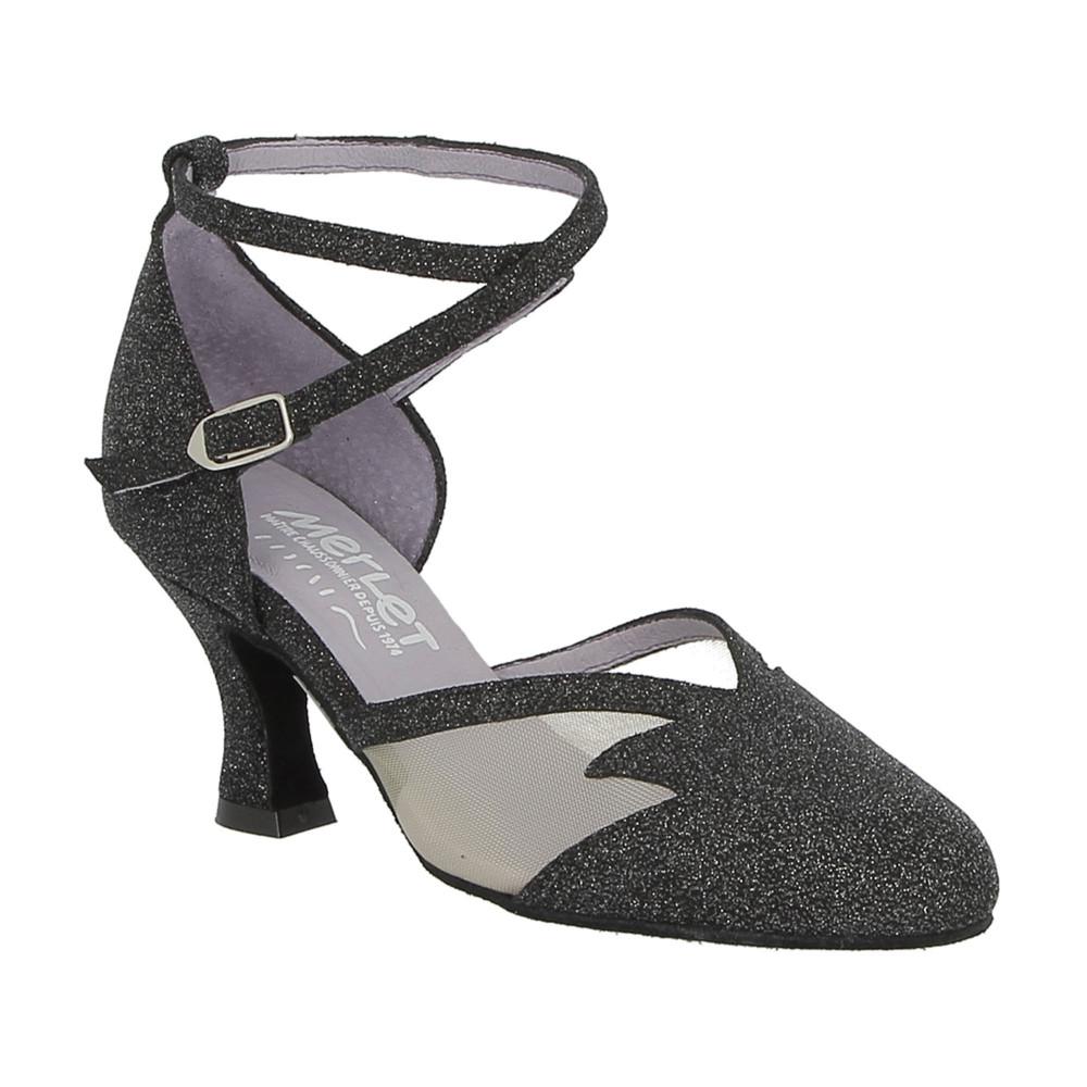 Chaussure de danse de salon Merlet en velours noir avec résille - Cholet