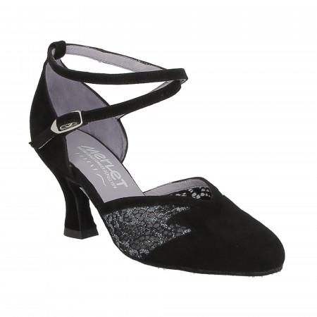 Chaussure de danse de salon Merlet en velours noir et résille - Cholet