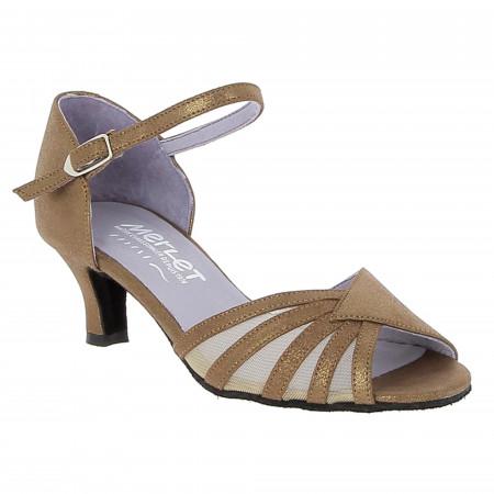 Chaussure de danse de salon en velours cognac pour femme - Merlet Dany