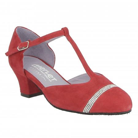 Chaussure de danse de salon en cuir velours rouge cerise pour femme - Merlet