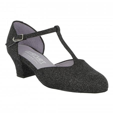 Chaussure de danse de salon en cuir argent pailleté EVA Merlet