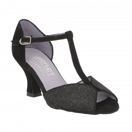 Chaussure de danse de salon en cuir argent light avec imprimé noir - Merlet Jade