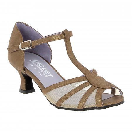 Chaussure de danse de salon en cuir velours cognac pour femme - Karmina Merlet