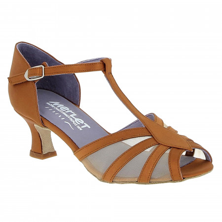 Chaussure de danse de salon dark tan satin - Karmina merlet