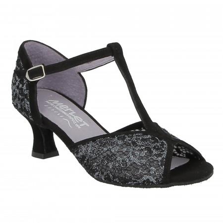 Chaussure de danse de salon Merlet en cuir velours noir avec résille - Kate