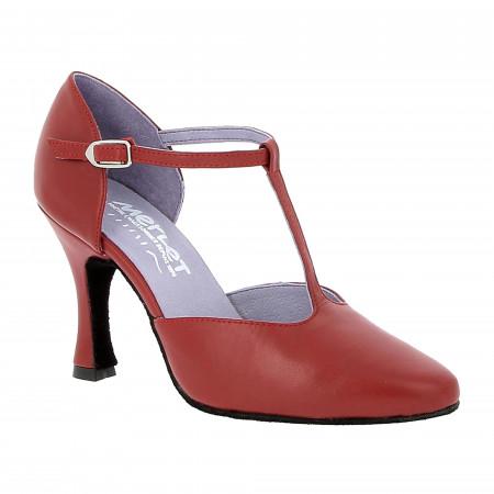 Chaussure Merlet de danse de salon en cuir rouge cerise avec semelle noir