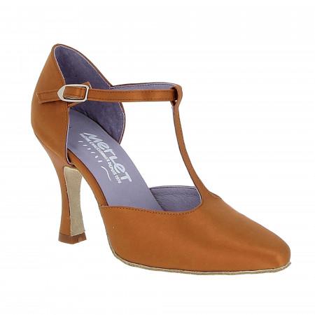 Chaussure de danse de salon fermée talon 8cm en satin tan