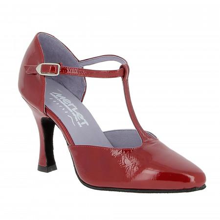 Chaussure de danse de salon en cuir verni rouge- Lara Merlet