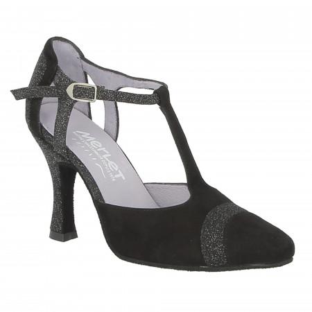 Chaussure de danse de salon en velours noir avec cuir pailleté
