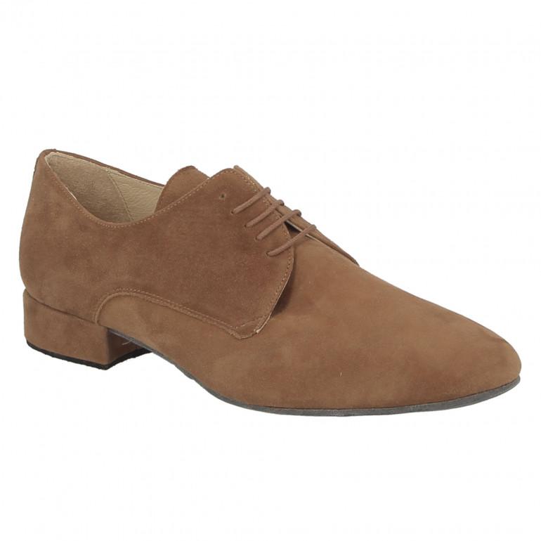 Chaussure de danse de salon en velours cognac pour homme - Zephir Merlet