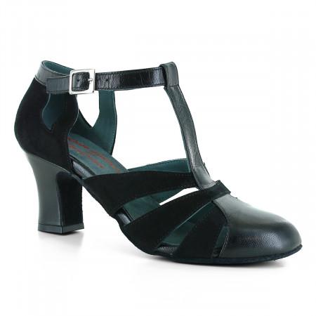Chaussures de danse en cuir lisse et nubuck noir à talons 6cm - Rosso latino