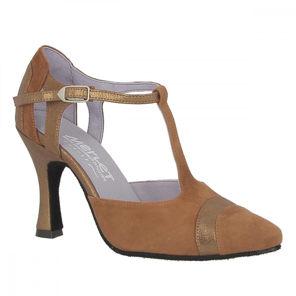 Chaussure de danse de salon en velours cognac pour femme