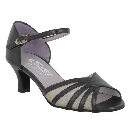 Chaussure de danse de salon en cuir nappa noir