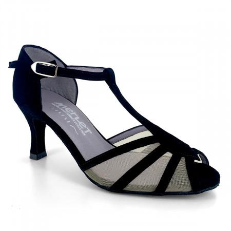 Chaussure de danse de salon en velours noir pour femme