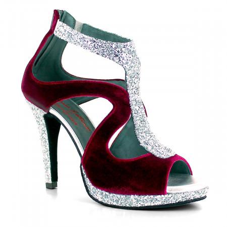 Queen - Chaussure de danse velour bordeaux et paillette argentée