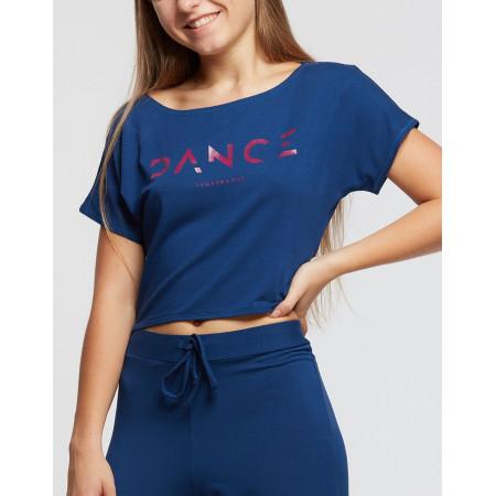 "Crop top de danse bleu avec imprimé ""DANCE"" - Agile Dance"
