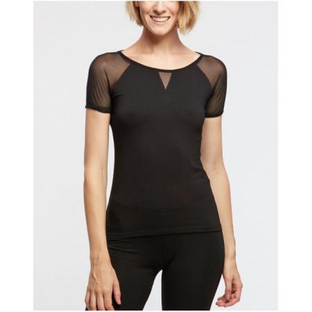 T-shirt en viscose noir et insert en résille - Demi