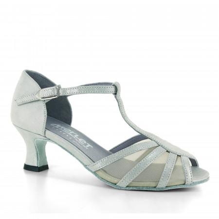 Chaussure de danse en cuir pailleté argent et résille - Karmina