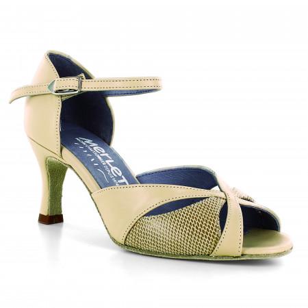 Chaussure de danse en nubuck beige et cuir effet python - Saphir