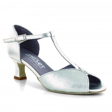 Chaussure de danse en cuir argent effet python et bride salomé - Kate