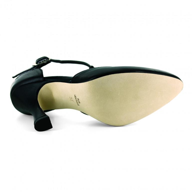 Chaussure de danse en cuir noir et semelle cuir lisse - Lara