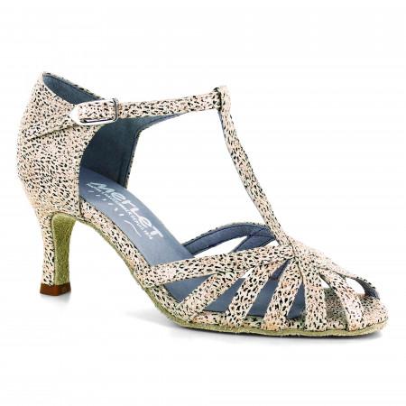 Chaussure de danse latine en cuir beige et motif imprimé - Sabine