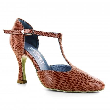 Chaussure de danse en cuir effet python et bride salomé - Lara