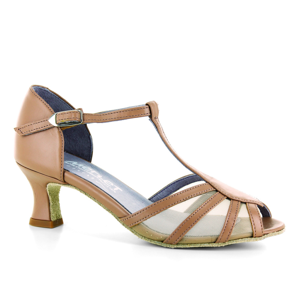 Chaussure de danse en cuir nude et résille - Karmina