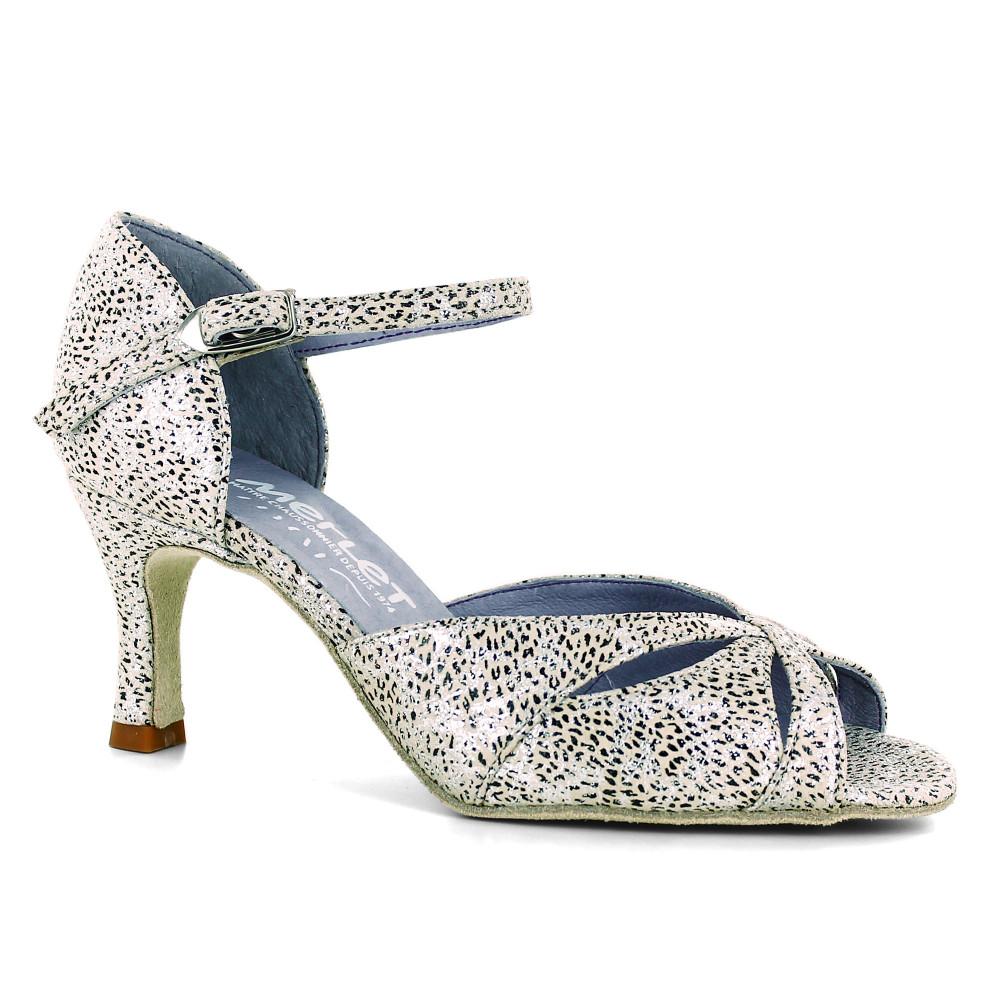 Chaussure de danse en cuir imprimé beige et argent - Saphir