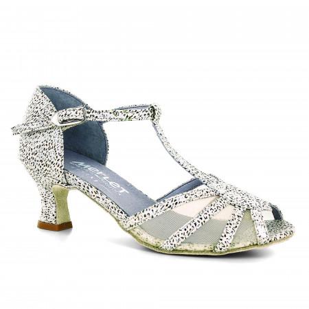 Chaussure de danse en cuir imprimé beige et argent et résille - Karmina