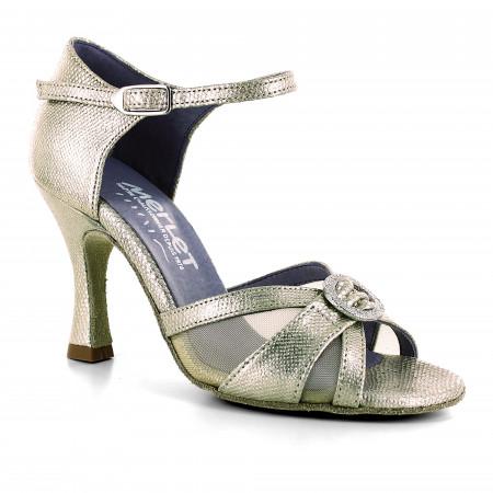 Chaussure de danse en cuir or effet python et boucle strassée - Molene