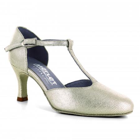 Chaussure de danse en cuir or effet python - Nina