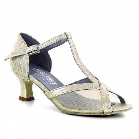 Chaussure de danse en résille et cuir or effet python - Katy